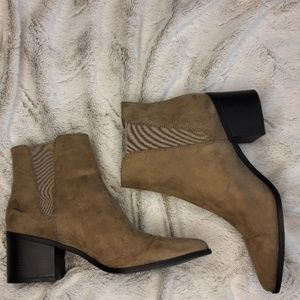 Faux Suede Taupe Ankle Boots